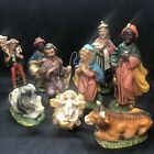 Vintage Chalkware NATIVITY SET Lot of 9 Figures Pieces Christmas Made In ITALY