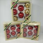 Vintage Ball Pyramid 3 Glass Christmas Tree Ornaments 3 sets 21 Red  3 Gold
