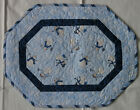 Handcrafted Quilted Table Runner Topper WINTER SNOWMAN SNOWFLAKE BLUE