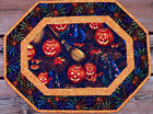 Handcrafted Quilted Table Runner Topper HALLOWEEN PUMPKIN WITCH HAT BROOM