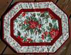 Handcrafted Quilted Table Runner Topper CHRISTMAS POINSETTIA PINE CONES