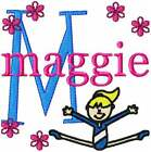 Gymnastic Girl Font Monogram Machine Embroidery Designs