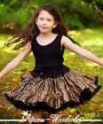 Black Leopard Print FULL Pettiskirt Skirt Petti Party Dance Tutu Dress Girl 1-8Y