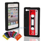 New Silicone Cassette Tape Cover Skin Case for iPhone 4GS 4S Black