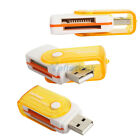 New Swivel Design All in 1 SD/MMC/MS/TF/M2 USB 2.0 Memory Card Reader Yellow