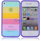 New Hot Fashion Rainbow Hard PC/TPU Case Cover for Apple iPhone 4/4S Purple Side