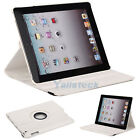 New 360 Magnetic Smart Cover Leather Case Rotating Stand for iPad3 iPad 3 White