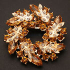 New Fashion Charming Bauhinia Style Rhinestone Brooch Pin Golden Champagne