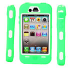 New Hard Silicone + Plastic Case Cover for iPhone 4 4S Rose Green+White