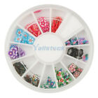 New 12 Colors 3D Flower Pattern Fimo Nail Art Decoration Tips Slices Wheel