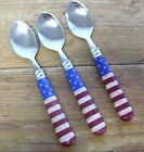 Sakura Warren Kimble Colonial 3 Place Oval Spoons Stainless American USA Flag