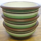 3 Cereal Soup Bowls Dansk Stacking Stripe Pistachio Green Chocolate Brown FUN