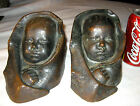 ANTIQUE KBW BRONZE CLAD BABY IN BLANKET ART STATUE BOOKENDS ARMOR BUST CHILD