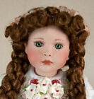 Musical 14 Inch Porcelain Collector's Doll w/ Stand Brown Hair Green Eyes