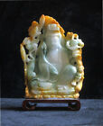 Chinese Natural Jade Stone Carved Lotus Kwan Yin Figure vs841