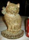 ANTIQUE HUBLEY CAST IRON CAT WITH BOW HOME ART STATUE SCULPTURE DOOR DOORSTOP