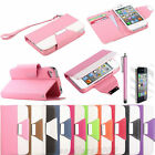 For Apple iPhone 4 4S Magnetic Flip PU Leather Pouch Wallet Stand Case Cover+Pen