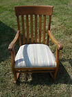 Vintage rocking chair solid wood nursery childs room adult fabric seat rocker