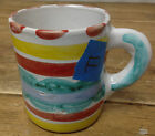 Giovanni Desimone 64 Italy Coffee Mug #F Red Dots Stripes UNEVEN Blue Clouds