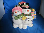 1995 Fitz & Floyd Hand Painted Ceramic Christmas Snowman Cookie Jar Frosty Folks