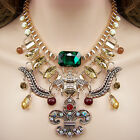 vintage antique victorian style jewellery gold gp glass crystal bib necklace