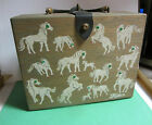 RARE VINTAGE 50s 60s HANDCRAFTED WOODEN BOX PURSE BY K-WES PEBBLE BEACH TEXAS