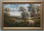 High Quality Oil Painting in Wooden Frame Landscape Road to House by River 24x36