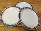 3 Dinner Plates Salem Georgetown Brown Blue Bands Rings Stoneware USA Oatmeal