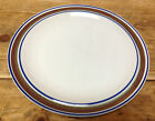 1 Dinner Plate Salem Georgetown Brown Blue Bands Rings Stoneware USA Oatmeal