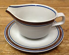 Gravy Boat with Underplate Salem Georgetown Brown Blue Bands Rings Stoneware USA