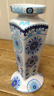 Happy Suzani Blue 222 Fifth Multicolor Swirls Bands Dots Pillar Candle Holder