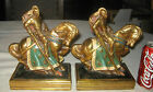 ANTIQUE BRONZE CLAD ENGLISH KNIGHT SWORD JOUSTING MAN WAR HORSE STATUE BOOKENDS