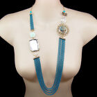 vintage antique style long necklace gold plated blue multi chain glass crystal