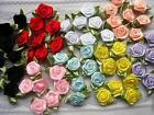 70 Satin Ribbon Rose 1 Flower Leaves trim craft sewing dress Bow F28 Pick Color
