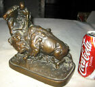 ANTIQUE ARMOR BRONZE CLAD INDIAN HORSE HUNT BUFFALO BOOKEND ART STATUE SCULPTURE