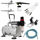 New 3 Airbrush  Compressor Kit Dual Action Spray Air Brush Set Tattoo Nail Art