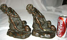 DOG BRONZE CLAD ART STATUE SCULPTURE BOOKENDS