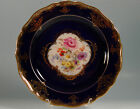 Lovely Early Meissen Cobalt and Gold Plate Hand-Painted Flowers