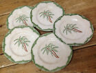 Pier 1 Sabel One 5 Salad or Dessert Plates Green Scrolls Palm Tree Brazil Jungle