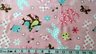 PATTERNED ANIMAL PINK COTTON FLANNEL FABRIC Giraffe Butterfly Elephant Owl  FQ