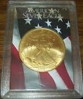 2003 24K Gold Plate American Silver Eagle 1 Troy Oz One Dollar Coin U.S. Flag