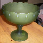 VINTAGE FROSTED GREEN AVOCADO FLUTED COMPOTE BOWL DISH