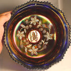 OUTSTANDING NFENTON CARNIVAL GLASS  BUTTERFLY &  BERRY 3 FOOTED BOWL IN BLUE
