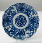 An Antique Japanese Blue & White Porcelain Fluted Plate - Bamboo & Flowers