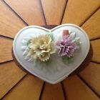 Capo-di-Monte heart-shaped Bisque porcelain trinket box, topped w/delicate flwrs