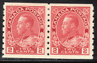 Canada 2c KGV Admiral Coil Pair, Scott 127, VF MHR, catalogue - $120