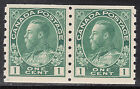 Canada 1c KGV Admiral Coil Pair, Scott 125, VF MNH, catalogue - $200