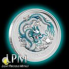 2012 1oz Silver Perth Mint Australian BLUE/white Lunar Dragon Coin Color RARE