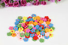 RLL2 Holes Flower Shape Wooden Sewing Buttons Craft Clothing Accessories 50PCS