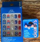 ***AMERICAN RED WHITE AND BLUE SPATKLE NAILS AND EARRING Set From Claires
